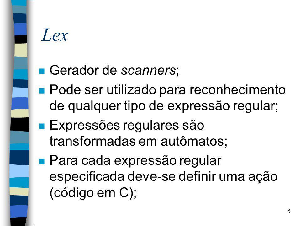 Lex Gerador de scanners;