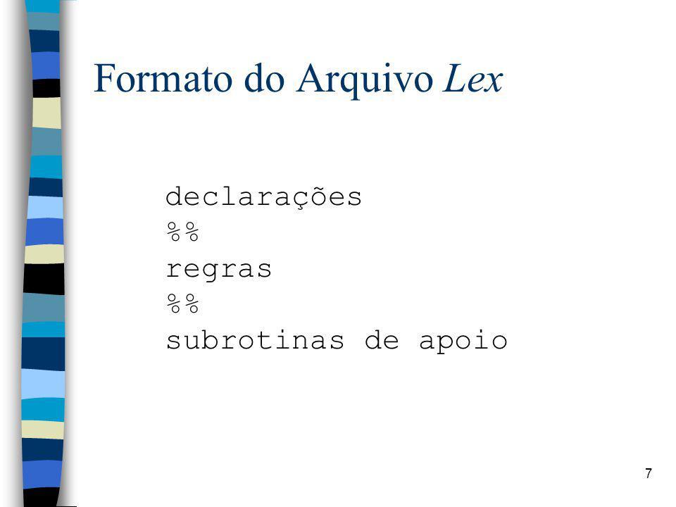 Formato do Arquivo Lex declarações %% regras subrotinas de apoio