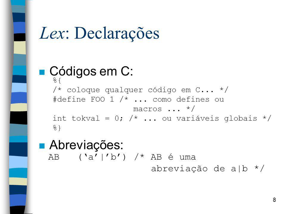 Lex: Declarações Códigos em C: Abreviações: