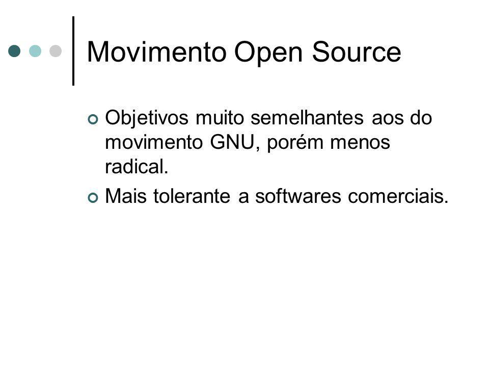Movimento Open Source Objetivos muito semelhantes aos do movimento GNU, porém menos radical.