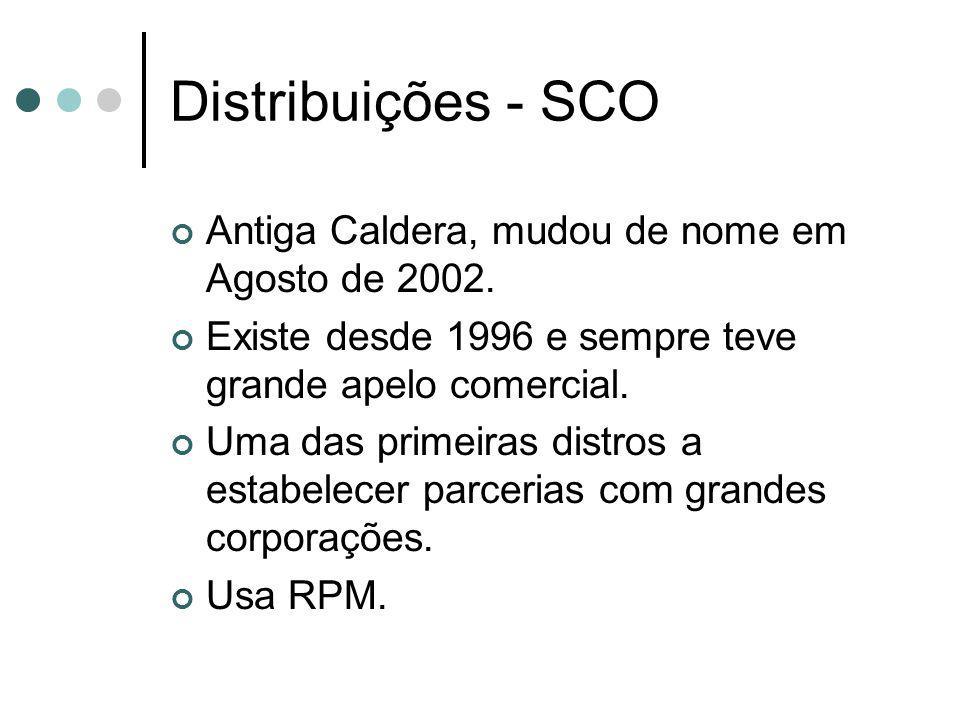 Distribuições - SCO Antiga Caldera, mudou de nome em Agosto de 2002.