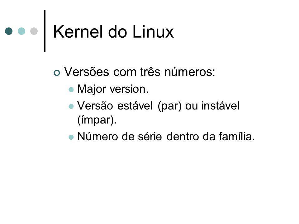 Kernel do Linux Versões com três números: Major version.