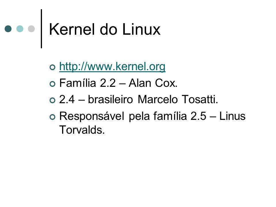 Kernel do Linux http://www.kernel.org Família 2.2 – Alan Cox.