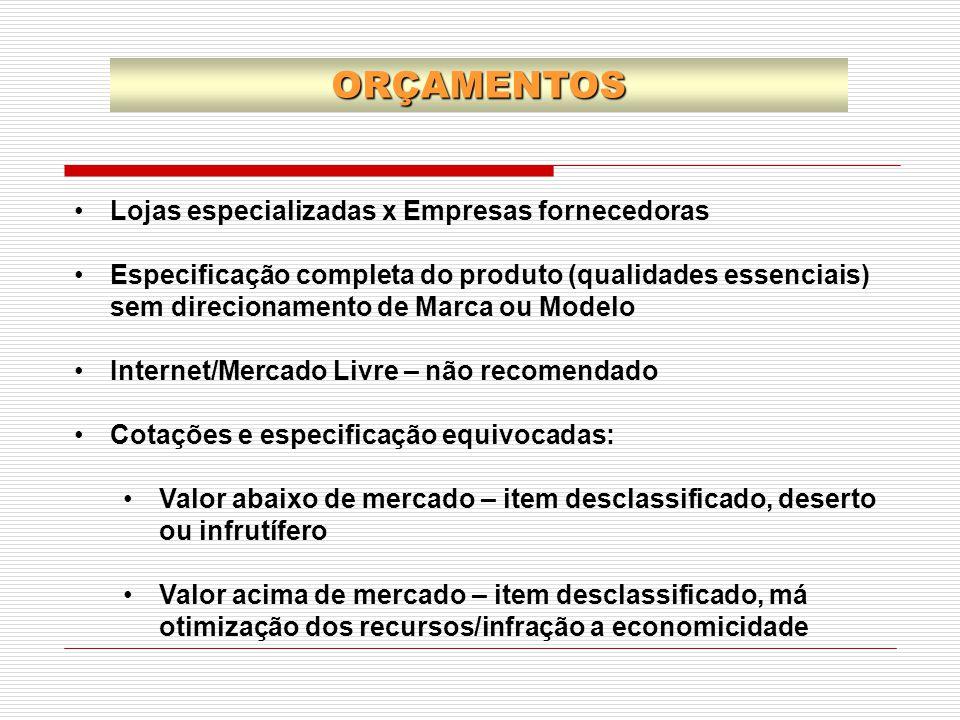 ORÇAMENTOS Lojas especializadas x Empresas fornecedoras