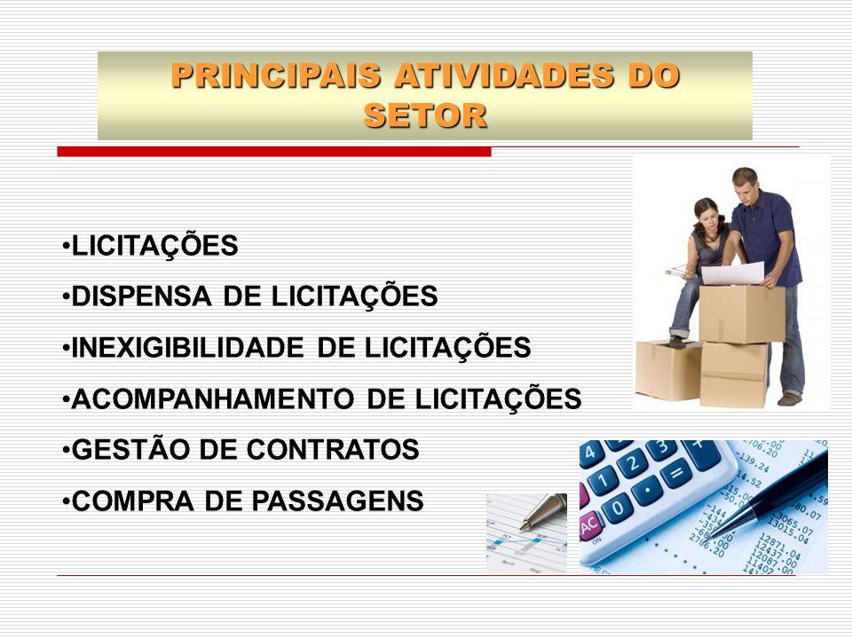 PRINCIPAIS ATIVIDADES DO SETOR