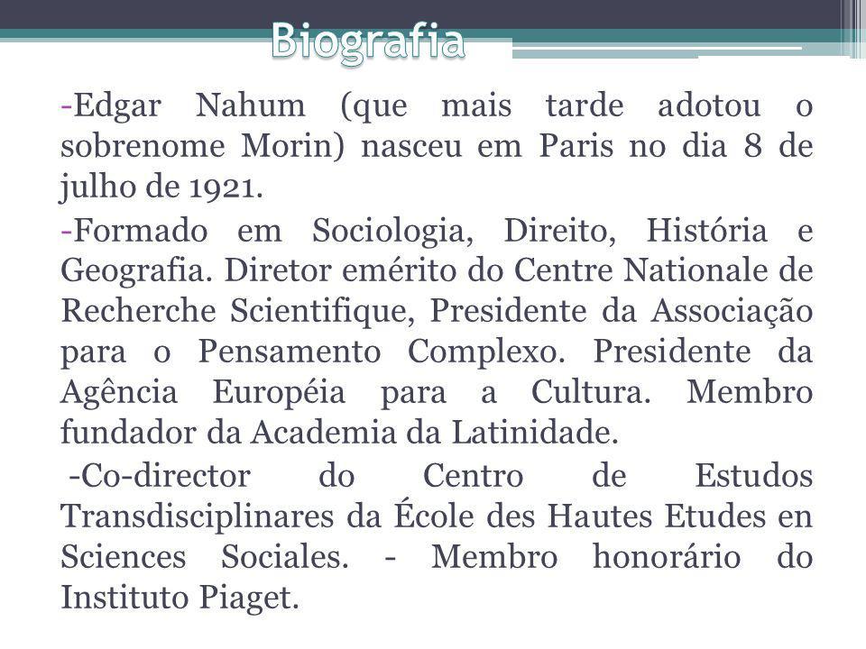 Biografia Edgar Nahum (que mais tarde adotou o sobrenome Morin) nasceu em Paris no dia 8 de julho de 1921.
