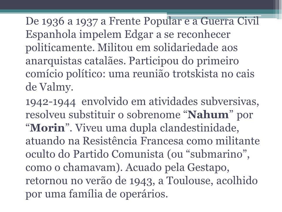 De 1936 a 1937 a Frente Popular e a Guerra Civil Espanhola impelem Edgar a se reconhecer politicamente. Militou em solidariedade aos anarquistas catalães. Participou do primeiro comício político: uma reunião trotskista no cais de Valmy.