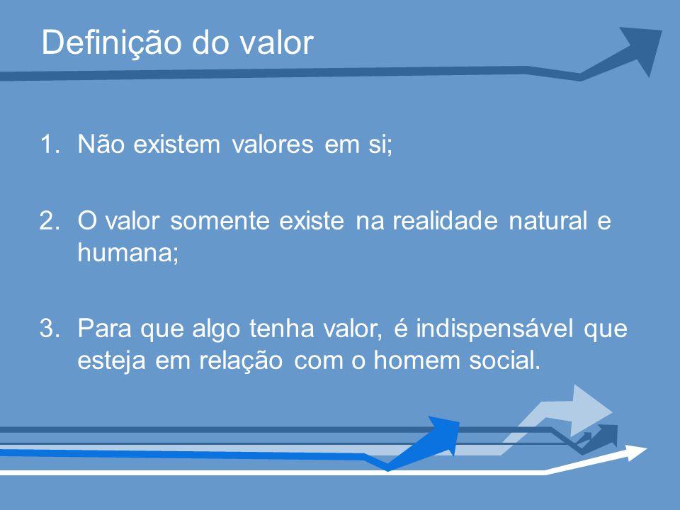 Definição do valor Não existem valores em si;