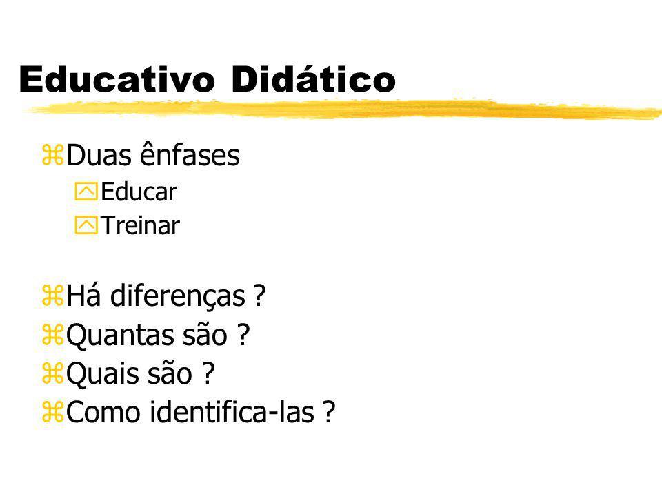 Educativo Didático Duas ênfases Há diferenças Quantas são