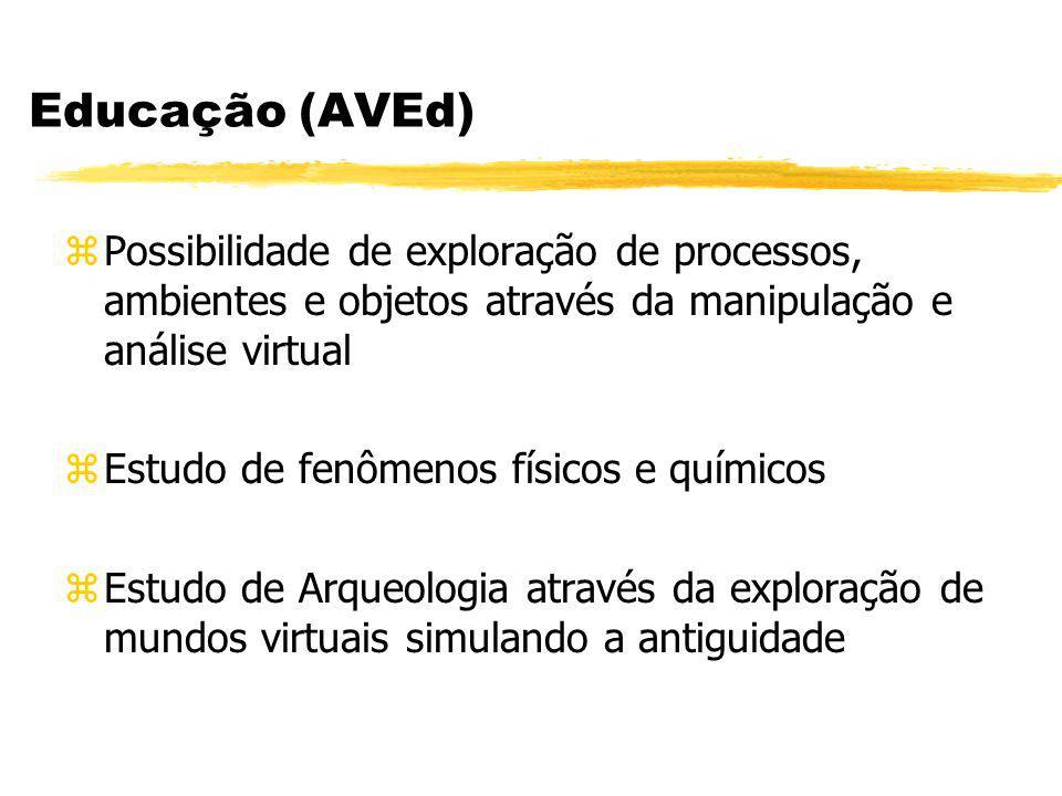 Educação (AVEd) Possibilidade de exploração de processos, ambientes e objetos através da manipulação e análise virtual.