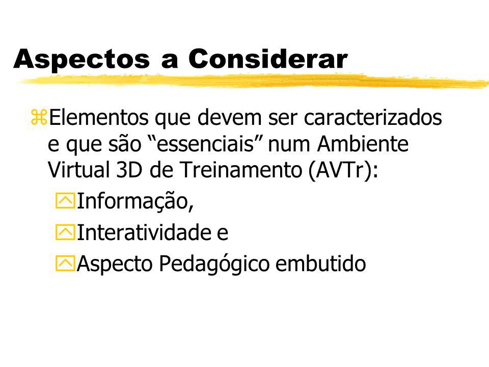 Aspectos a Considerar Elementos que devem ser caracterizados e que são essenciais num Ambiente Virtual 3D de Treinamento (AVTr):