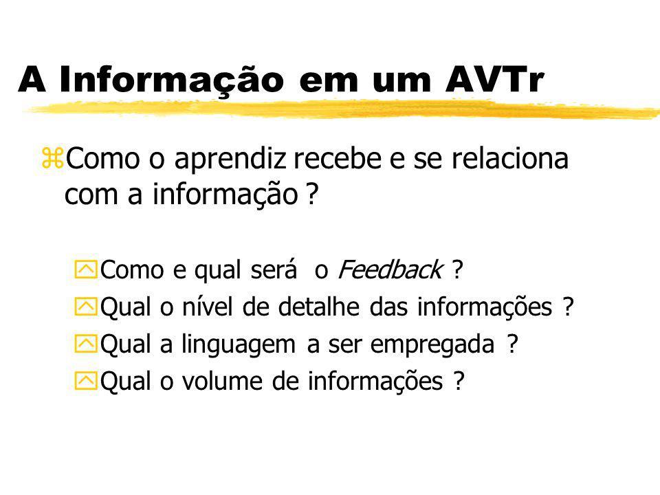A Informação em um AVTr Como o aprendiz recebe e se relaciona com a informação Como e qual será o Feedback