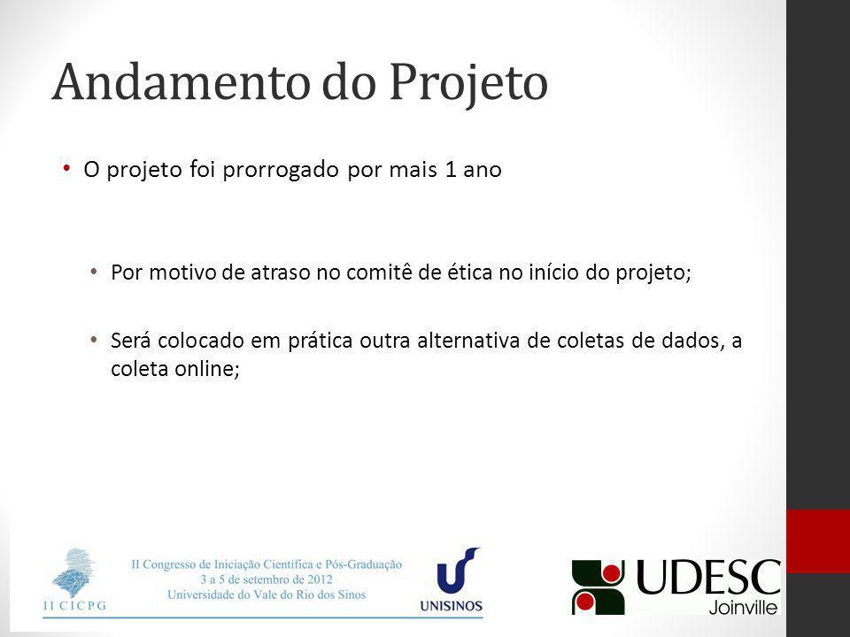 Andamento do Projeto O projeto foi prorrogado por mais 1 ano