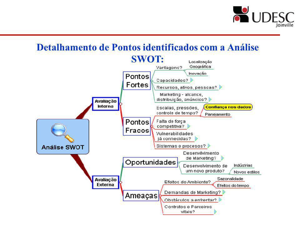 Detalhamento de Pontos identificados com a Análise SWOT: