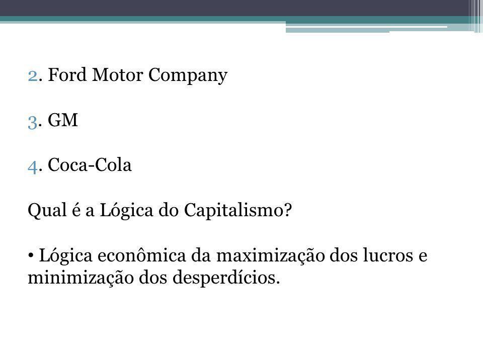 2. Ford Motor Company 3. GM. 4. Coca-Cola. Qual é a Lógica do Capitalismo