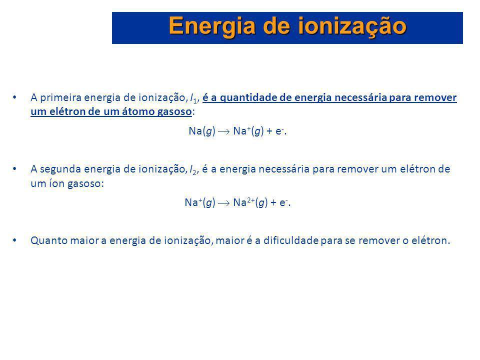 Energia de ionização A primeira energia de ionização, I1, é a quantidade de energia necessária para remover um elétron de um átomo gasoso: