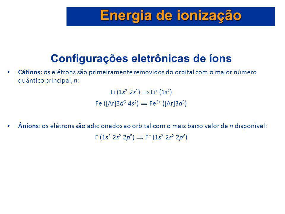 Configurações eletrônicas de íons