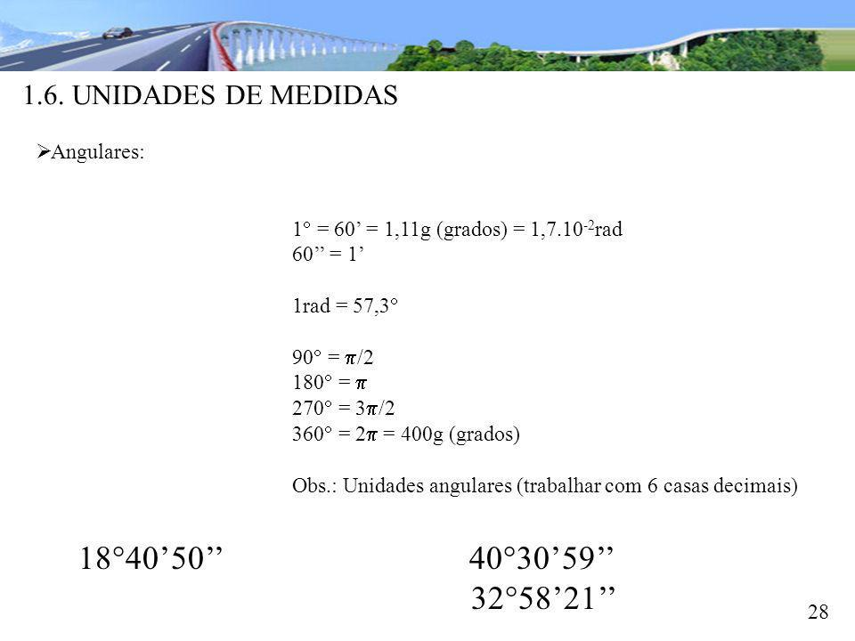 1840'50'' 4030'59'' 3258'21'' 1.6. UNIDADES DE MEDIDAS Angulares: