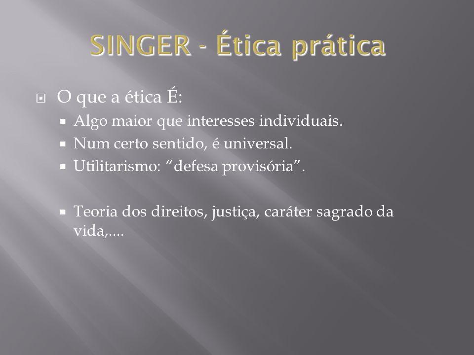 SINGER - Ética prática O que a ética É: