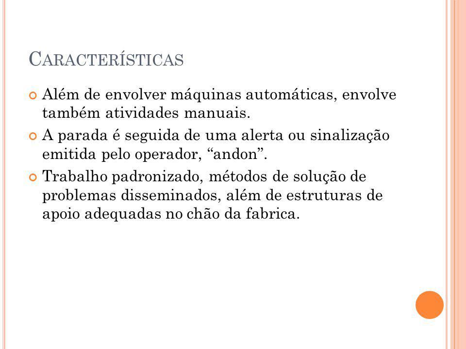 Características Além de envolver máquinas automáticas, envolve também atividades manuais.