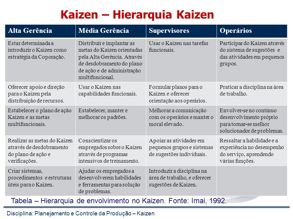 Kaizen – Hierarquia Kaizen