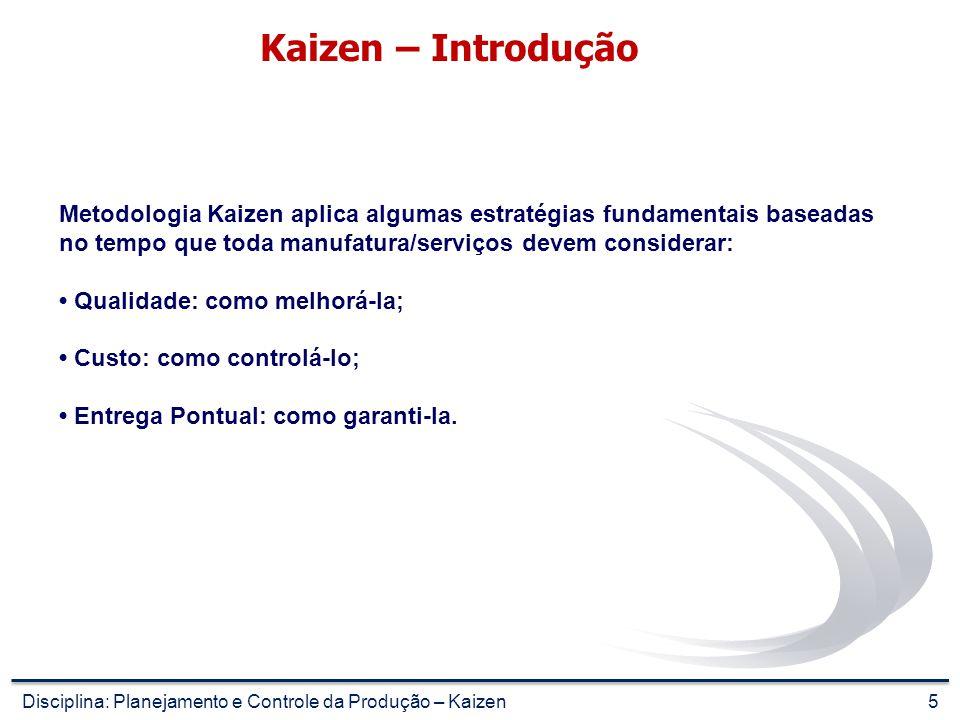 Kaizen – Introdução Metodologia Kaizen aplica algumas estratégias fundamentais baseadas no tempo que toda manufatura/serviços devem considerar: