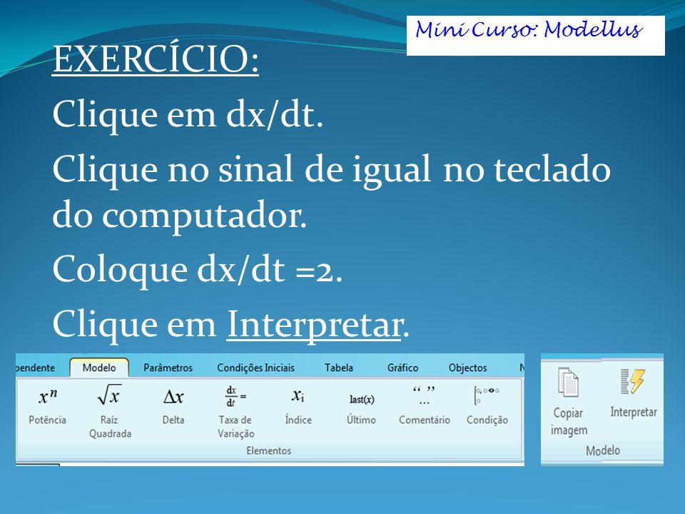 Clique no sinal de igual no teclado do computador. Coloque dx/dt =2.