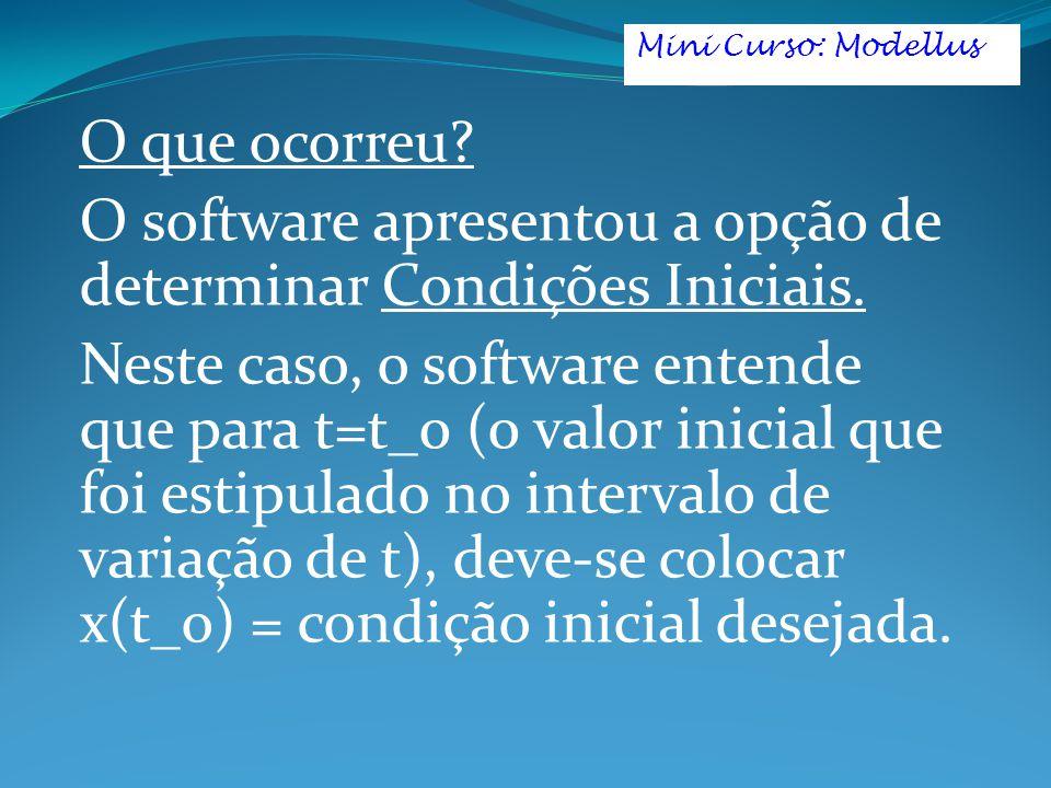 O software apresentou a opção de determinar Condições Iniciais.