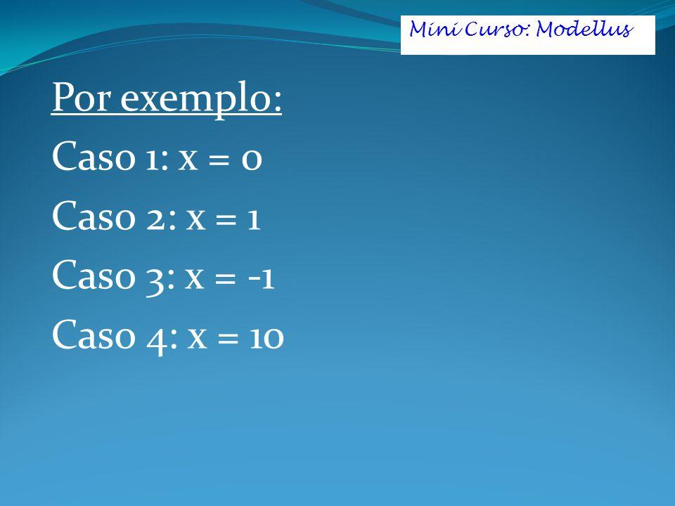 Por exemplo: Caso 1: x = 0 Caso 2: x = 1 Caso 3: x = -1 Caso 4: x = 10