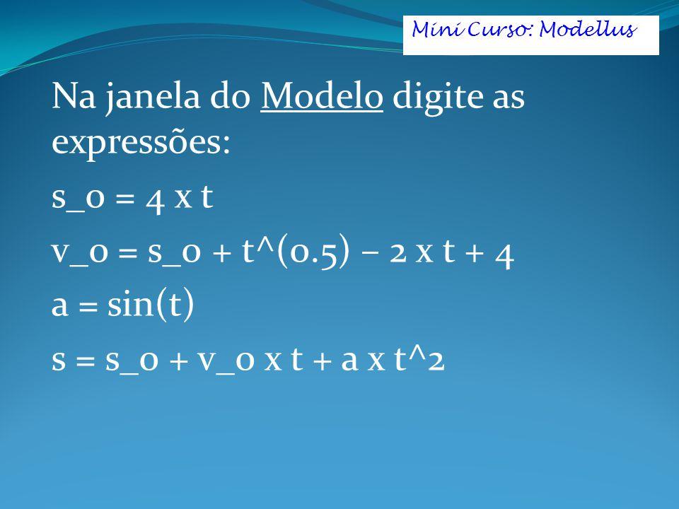 Na janela do Modelo digite as expressões: s_0 = 4 x t