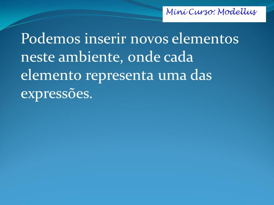 Mini Curso: Modellus Podemos inserir novos elementos neste ambiente, onde cada elemento representa uma das expressões.