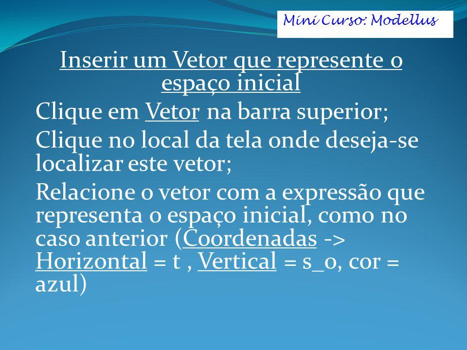 Inserir um Vetor que represente o espaço inicial
