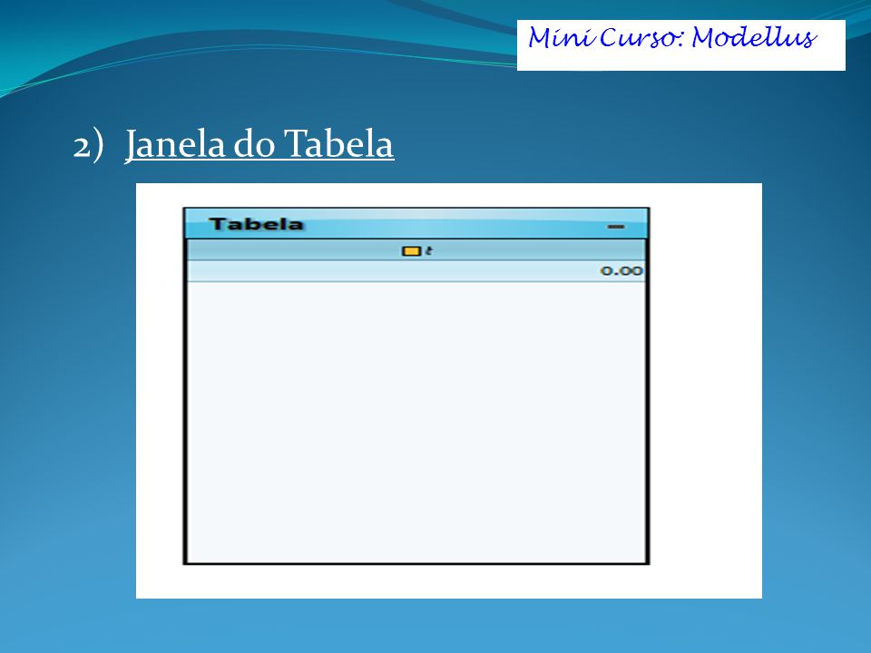 Mini Curso: Modellus 2) Janela do Tabela