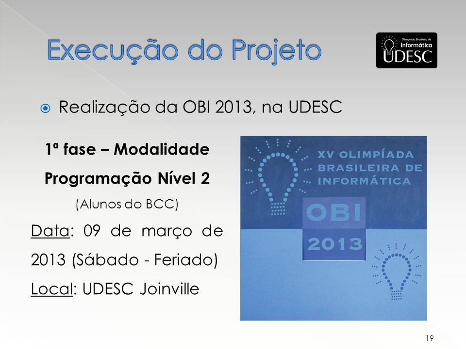 Execução do Projeto Realização da OBI 2013, na UDESC