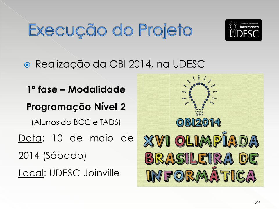 Execução do Projeto Realização da OBI 2014, na UDESC