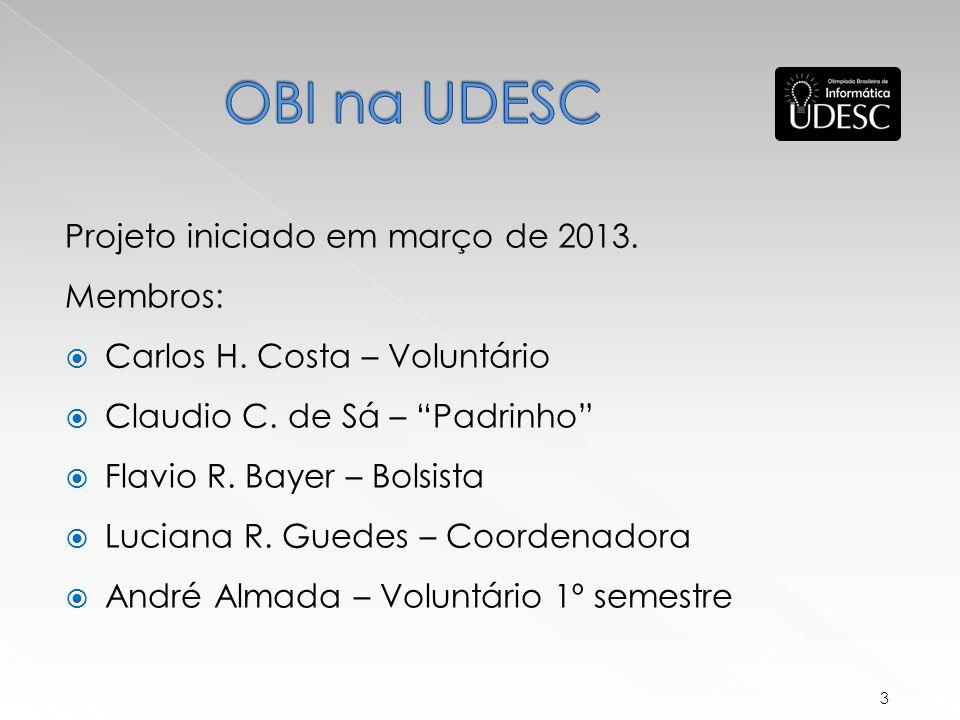 OBI na UDESC Projeto iniciado em março de 2013. Membros: