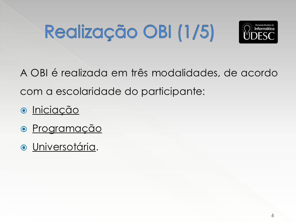 Realização OBI (1/5) A OBI é realizada em três modalidades, de acordo com a escolaridade do participante: