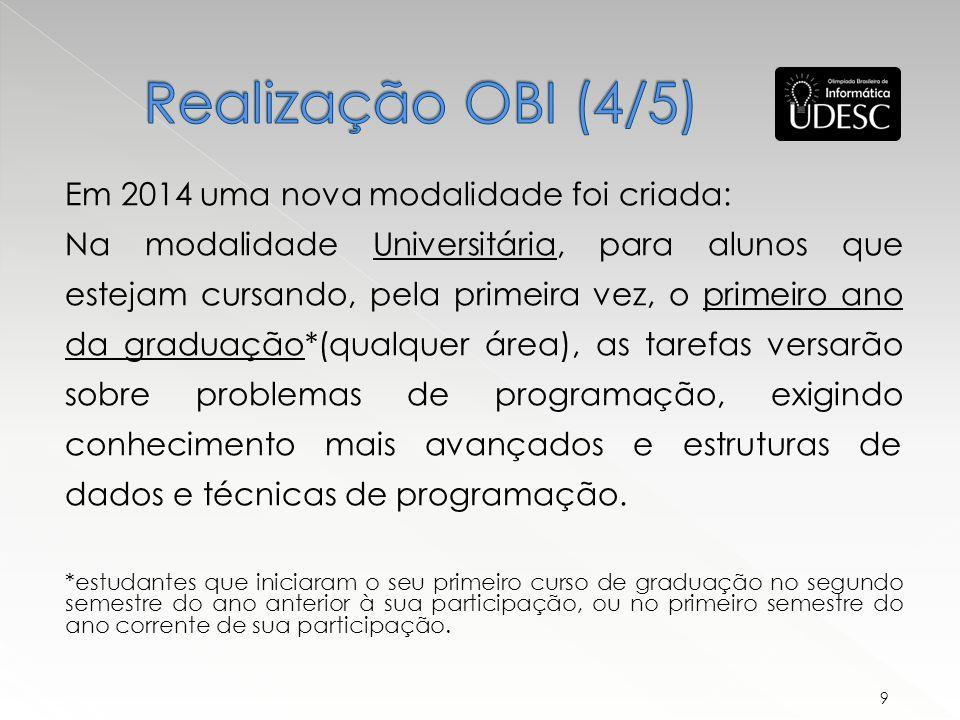 Realização OBI (4/5) Em 2014 uma nova modalidade foi criada:
