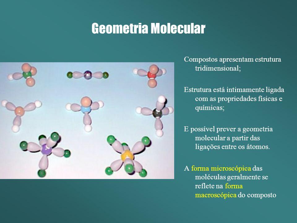 Geometria Molecular Compostos apresentam estrutura tridimensional;