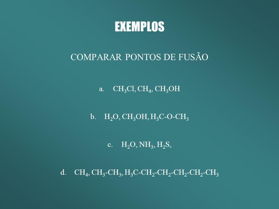 EXEMPLOS COMPARAR PONTOS DE FUSÃO CH3Cl, CH4, CH3OH