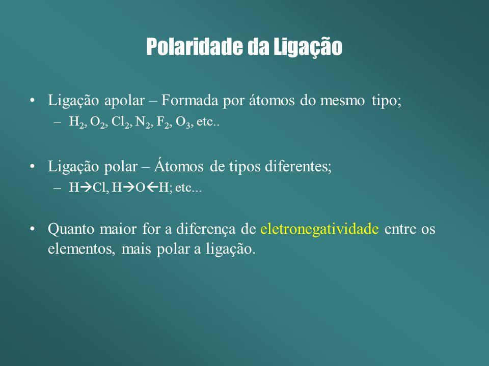 Polaridade da Ligação Ligação apolar – Formada por átomos do mesmo tipo; H2, O2, Cl2, N2, F2, O3, etc..