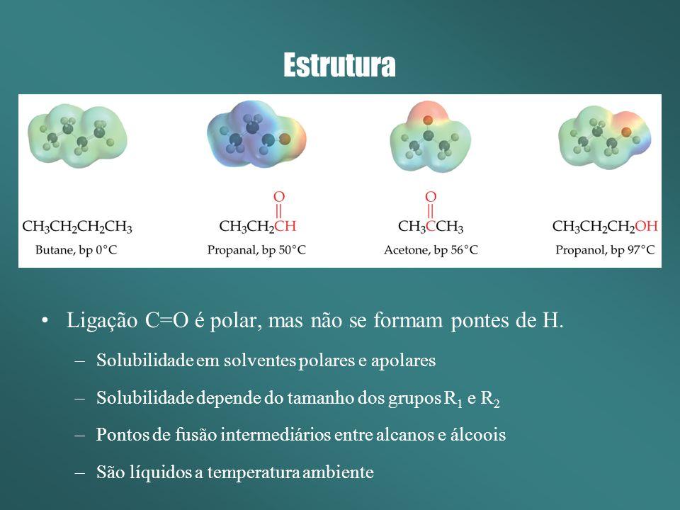 Estrutura Ligação C=O é polar, mas não se formam pontes de H.