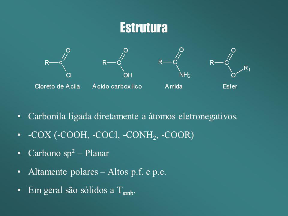 Estrutura Carbonila ligada diretamente a átomos eletronegativos.