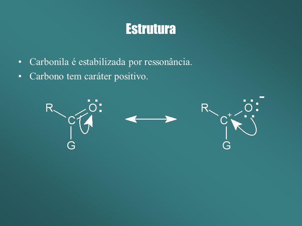 Estrutura Carbonila é estabilizada por ressonância.