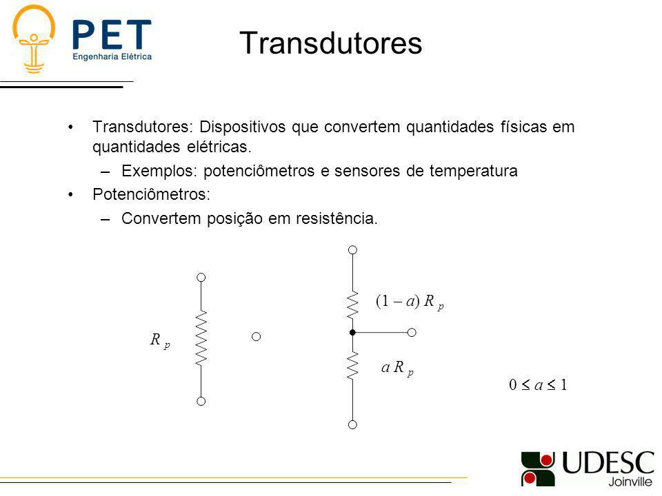 Transdutores Transdutores: Dispositivos que convertem quantidades físicas em quantidades elétricas.