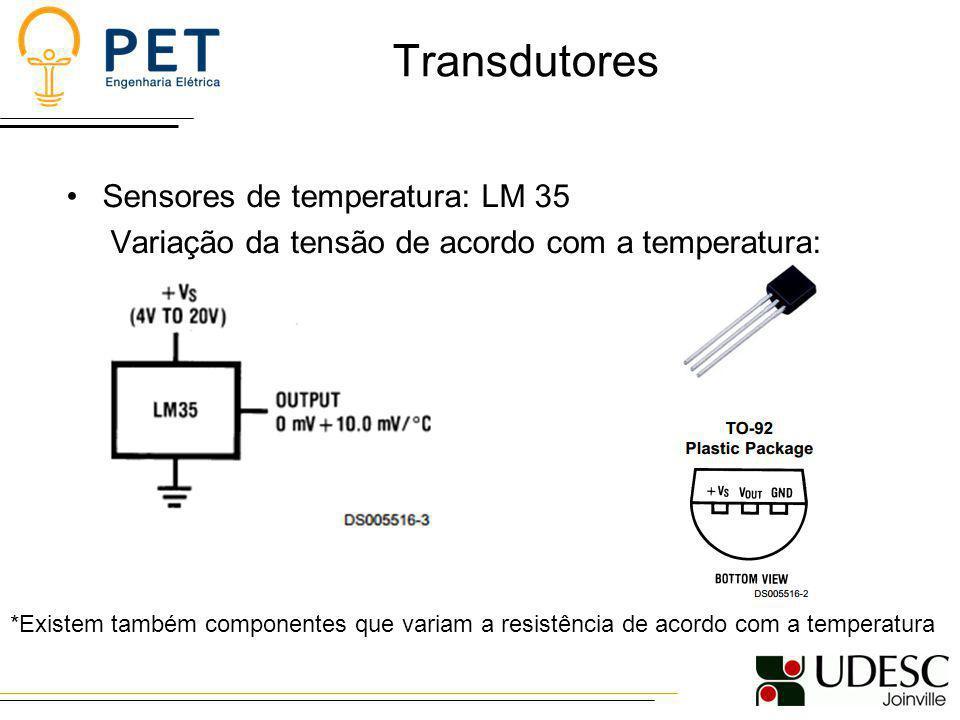 Transdutores Sensores de temperatura: LM 35
