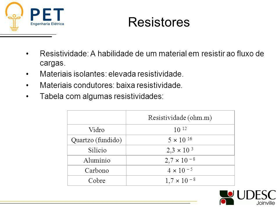 Resistores Resistividade: A habilidade de um material em resistir ao fluxo de cargas. Materiais isolantes: elevada resistividade.