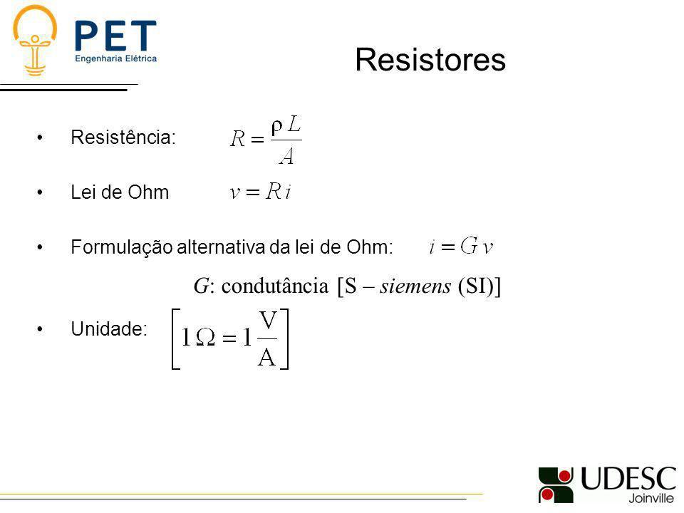 Resistência: Lei de Ohm Formulação alternativa da lei de Ohm: Unidade: