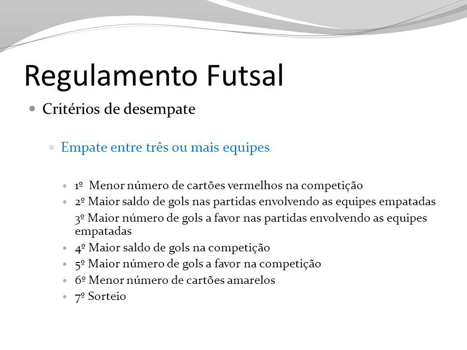 Regulamento Futsal Critérios de desempate