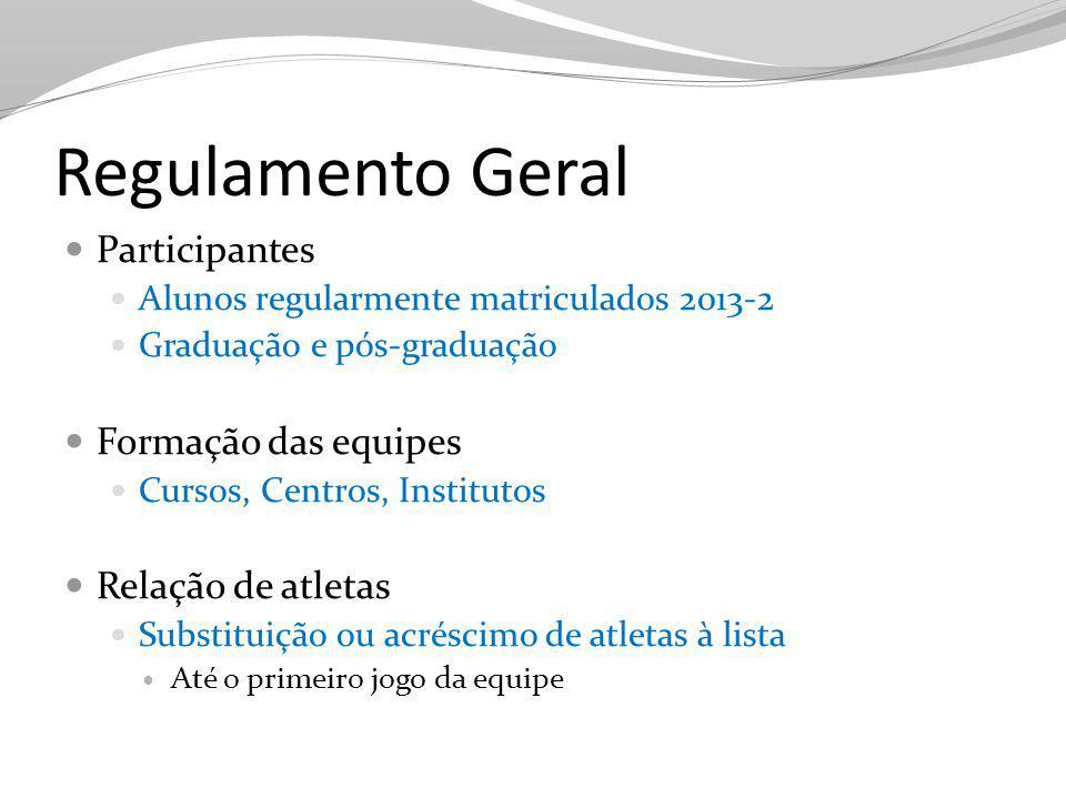 Regulamento Geral Participantes Formação das equipes